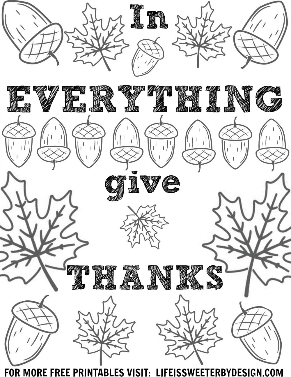 Thanksgiving Color Pages Life Is Sweeter By Design