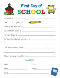 First Day of School Printable Worksheet - Life is Sweeter ...