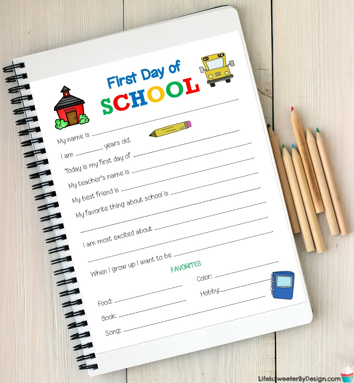 First Day Of School Printable Worksheet