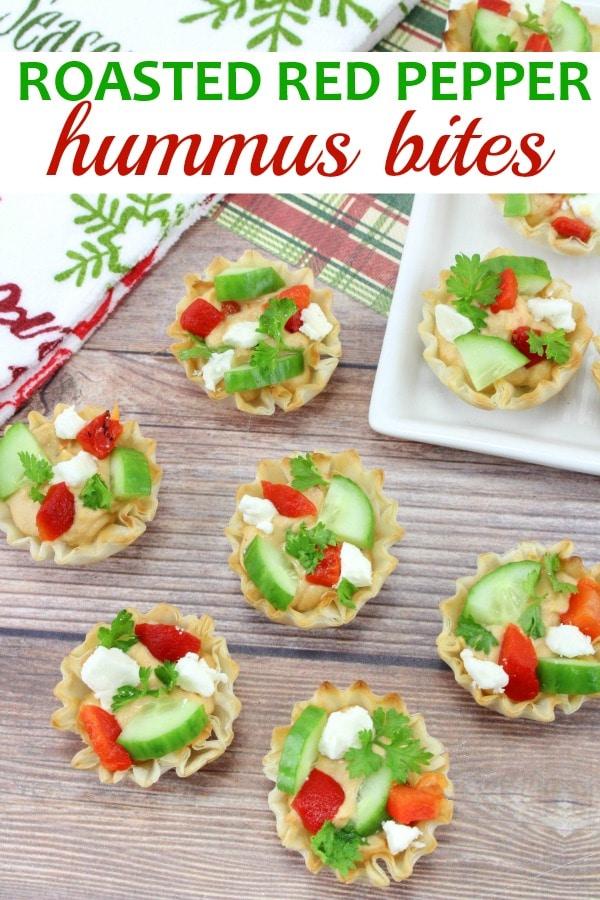 Roasted Red Pepper Hummus Bites