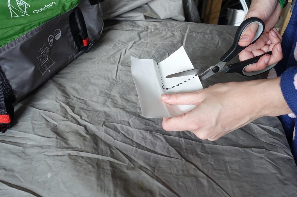Tent reparatie - Knippen