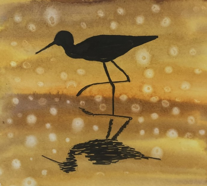 Egret in Silhouette (watercolor and ink, 7x6) - NFS