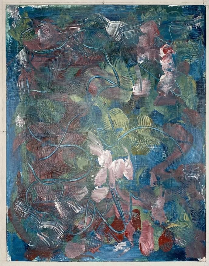 Peonies, Lawnmower (acrylic, 11x14) - NFS