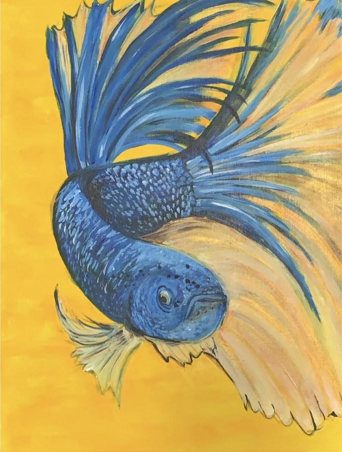 Blue Fish (acrylic, 18x24) - NFS