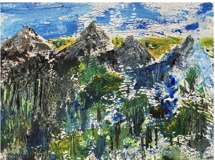 Mountains, accidentally (acrylic, 11x14) - NFS
