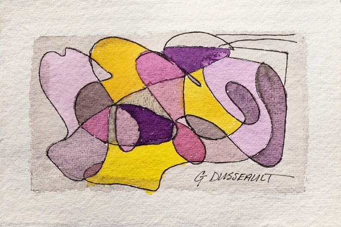 Inter-Twined (watercolor on handmade paper, ~4x6) - $40