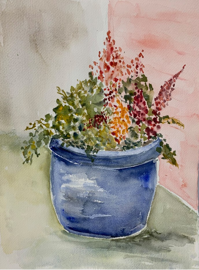 """Blue Pot"" (watercolor), NFS"