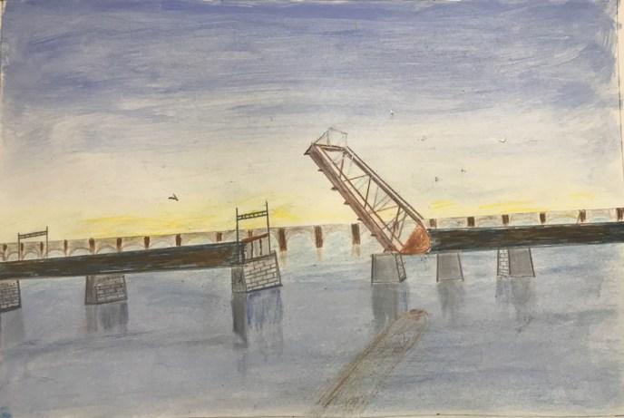 Crook Point Bridge (acrylic and pencil, 9x12) - Price Negotiable