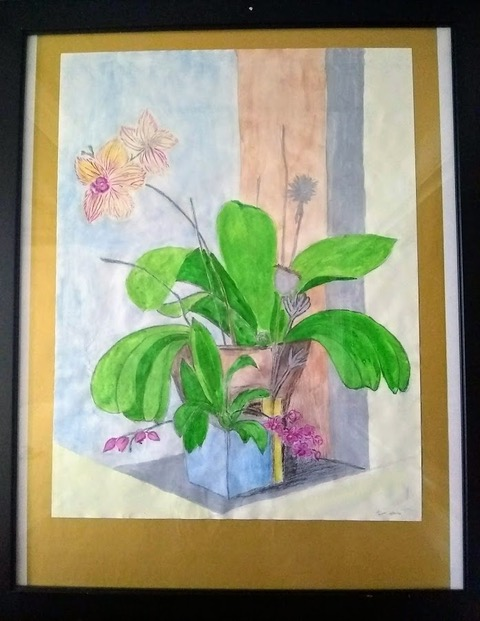 Orchid Mix (watercolor, wax crayon, charcoal), Price negotiable