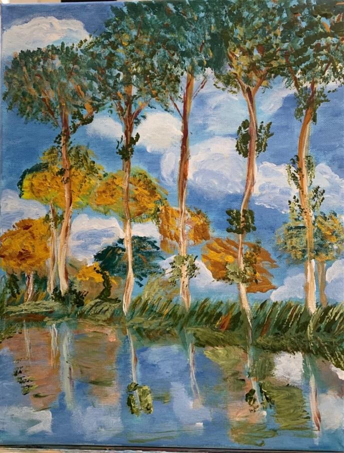 Poplars (acrylic on canvas, 9x12) - NFS