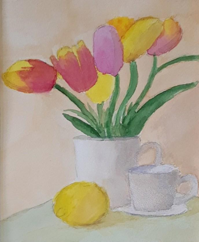 Tulips (watercolor, 9x9) - NFS