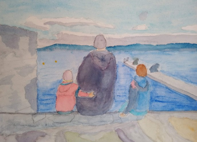 Family on Lake Geneva (watercolor on Arches paper, 9x12) - NFS