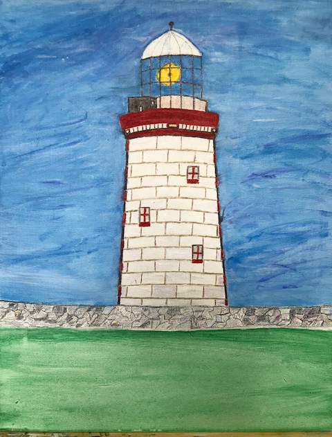 Loophead Light, County Clare (colored pencil, acrylic), NFS