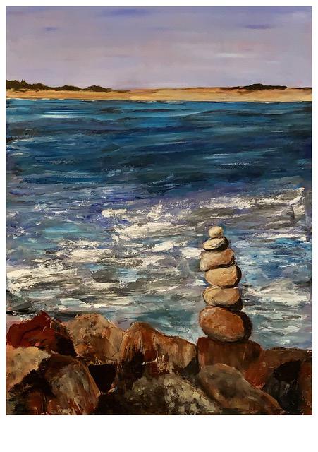 Block Island Cairn (acrylic), NFS