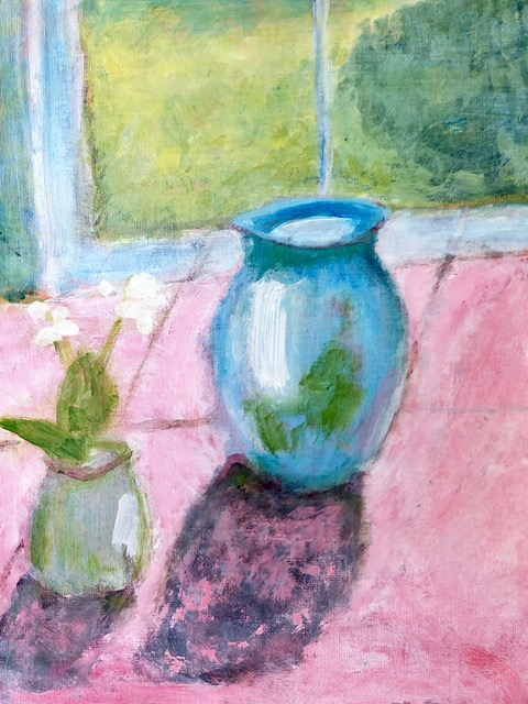 "Kathy Webster ""Blue Vase in the Sun"" (acrylic), NFS"