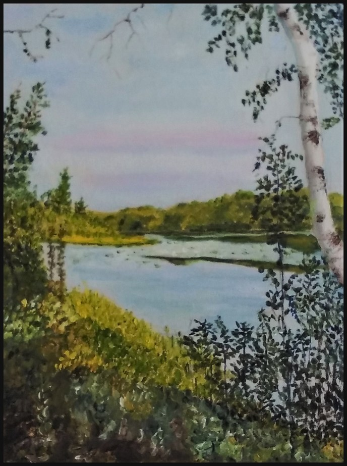"""Across Bellville Pond"" (oil on panel) - $100"