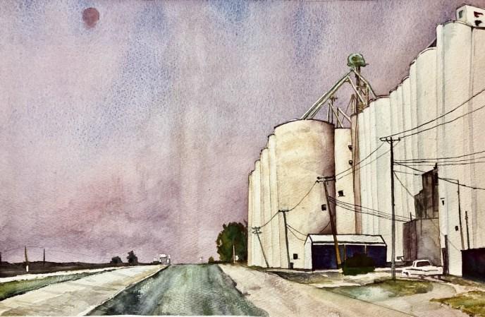 Rt 66, Illinois (watercolor, 12x18) - NFS