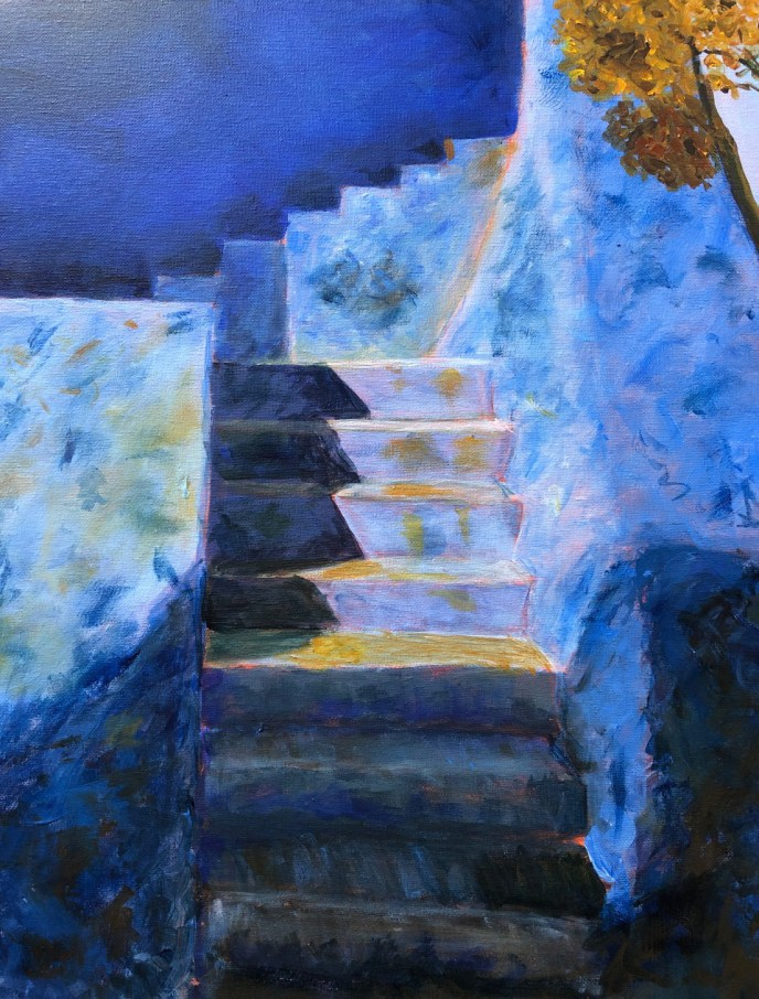 """""""Chefchaouen, Stairs"""" (acrylic), NFS"""