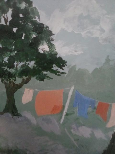 "Patricia Bisshopp ""Laundry Day"" (acrylic), NFS"