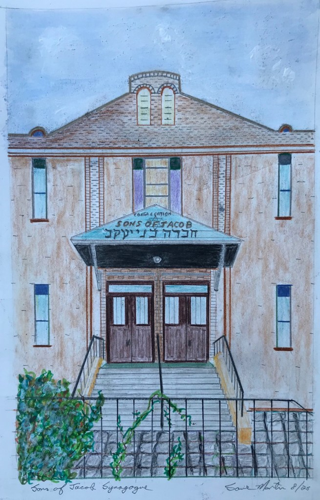"""Sons of Jacob Synagogue"" (colored pencil, acrylic on cardboard) - NFS"