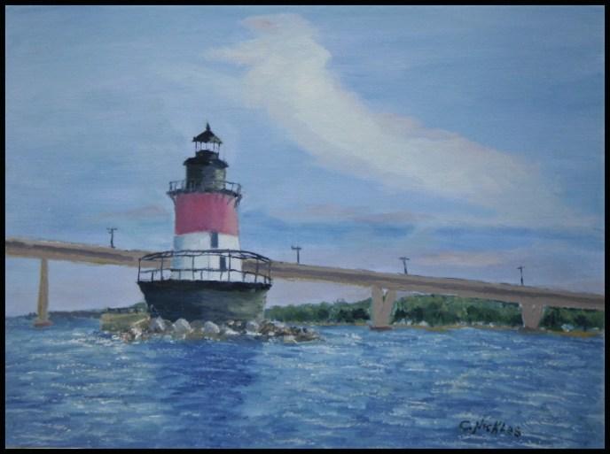 Plum Beach Light (oil on canvas panel, 9x12) - $60
