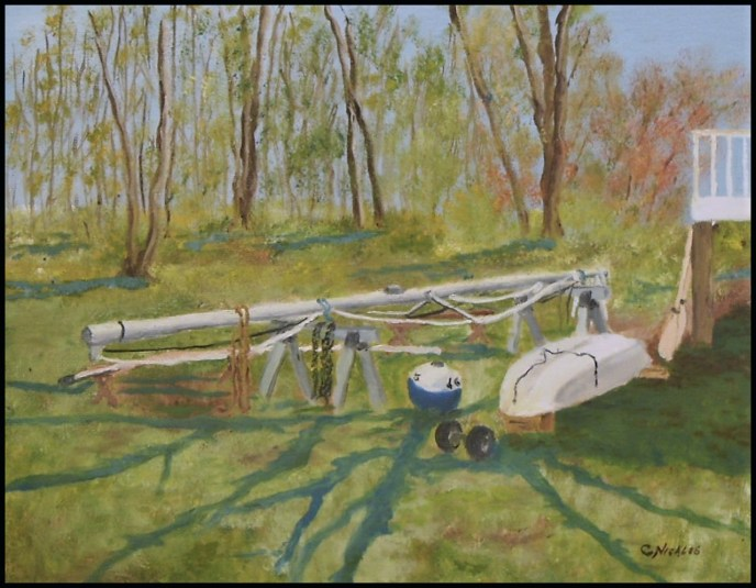 Backyard Boat Works (oil on canvas panel, 11x14) - $80