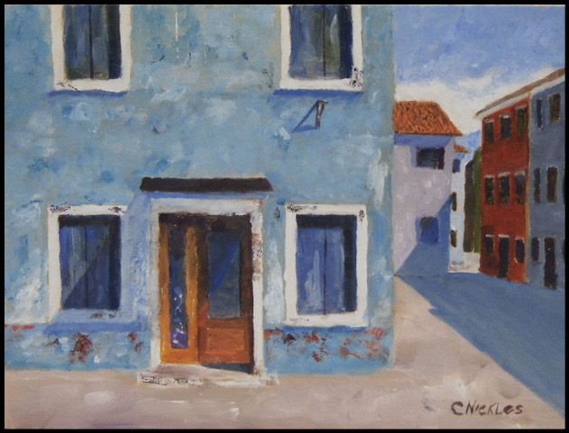 """Chuck Nickles """"Hotel Boarded Up"""" (oil), Neg"""