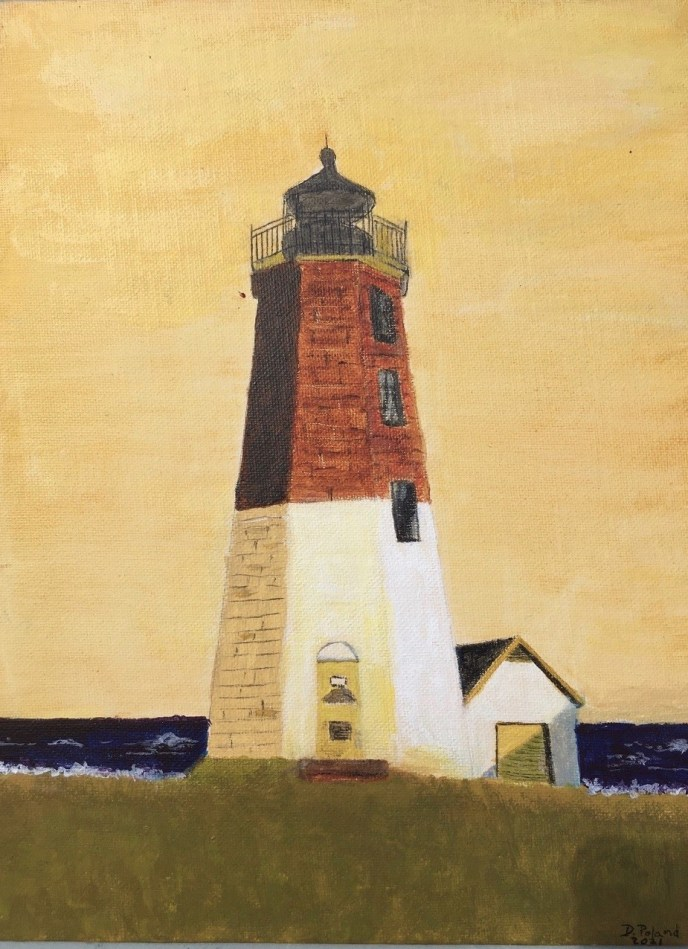 Point Judith Light House (acrylic on canvas board, 9x12) - Price Negotiable