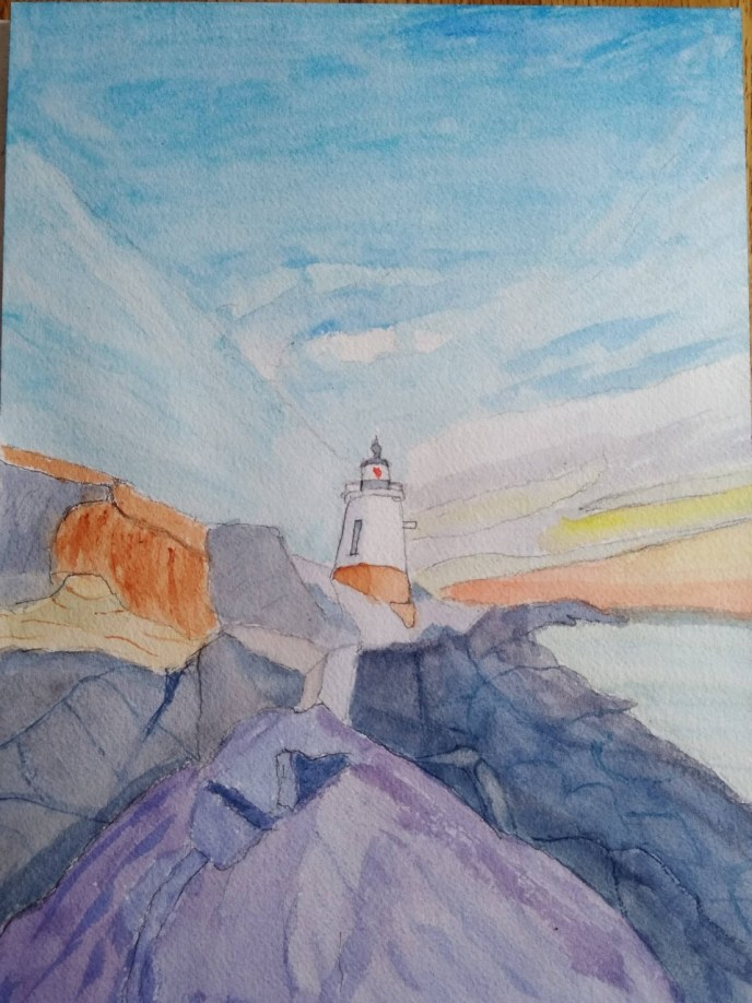 Castle Hill (watercolor and gouache, 9x12) - NFS