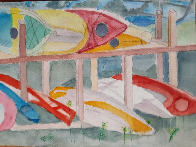 """Bristol Boat Rack""(watercolor) - NFS"