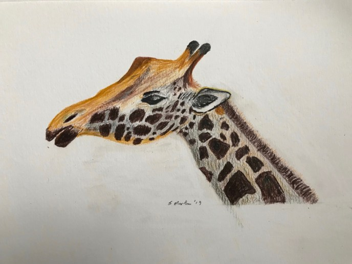 """Giraffe"" (acrylic, colored pencil), NFS"