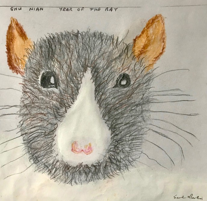 """""""Chinese Year of the Rat"""" (acrylic, colored pencil), NFS"""
