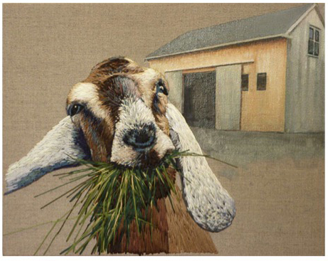 """Goat"" (oil and thread on linen) - SOLD"