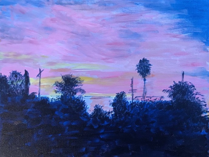 """Sunset in LA"" (acrylic), $100"