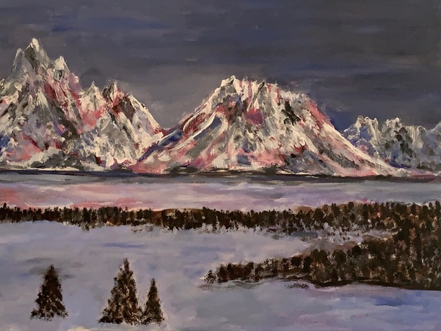 Teton Winter Dawn (acrylic), NFS