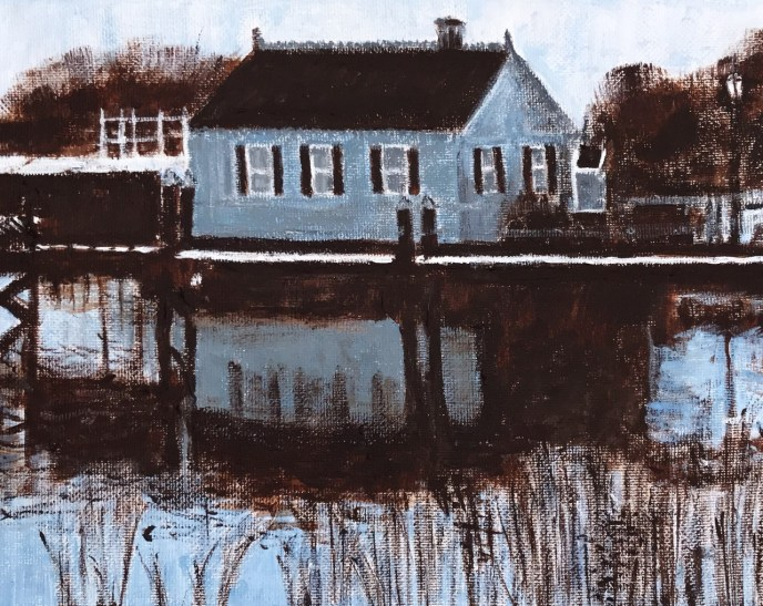 Cottage on the Barrington River (acrylic on canvas, 8x10) - Price Negotiable