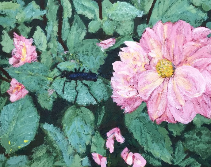 Dahlias in the House! (acrylic on canvas, 8x10) - Price on request
