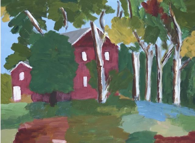 "Susan Van Horne ""Friends Meeting House, Uxbridge"" (acrylic), Neg"