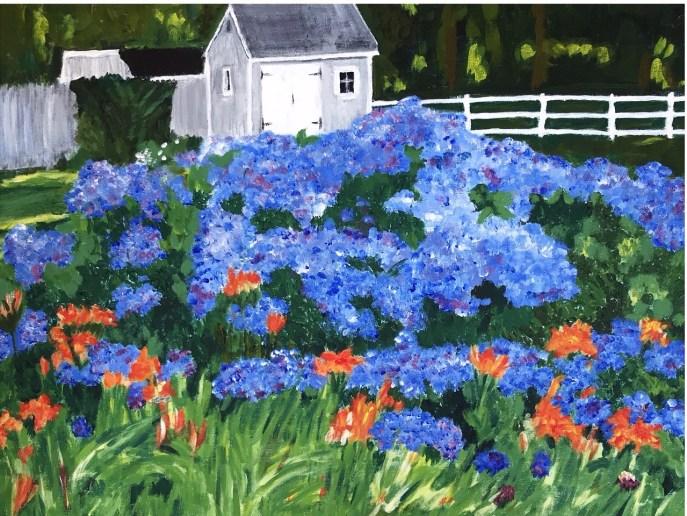 """Hydrangeas in Bloom"" (acrylic) - Negotiable"