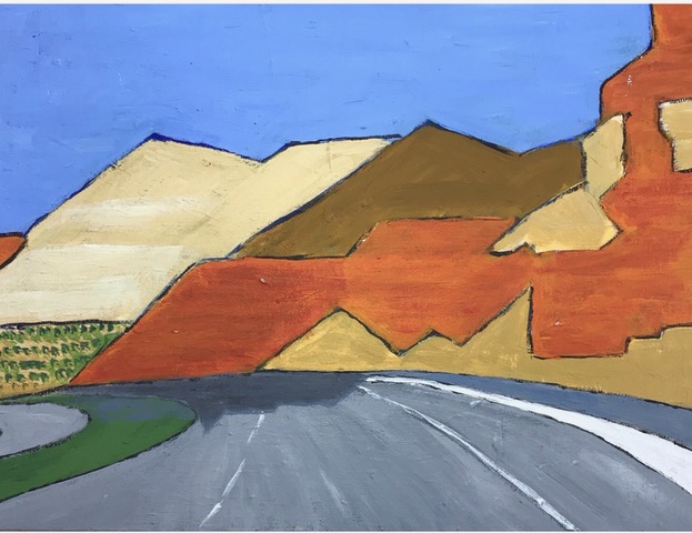 "Susan Van Horne ""Road to New Mexico"" (acrylic), Neg"