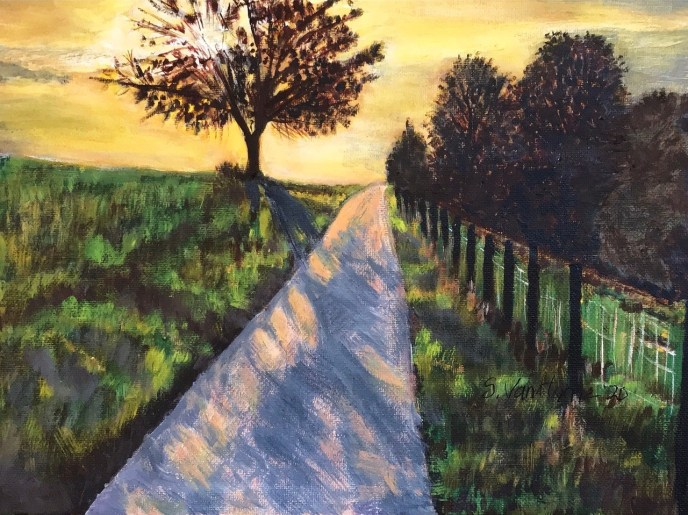 Sunset on a Country Road (acrylic on canvas), 9 x 12 - Price upon request