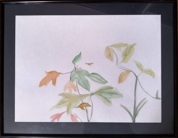 Bee and Flowers (watercolor), 11 x 15 - Price negotiable