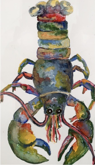 Psychedelic Lobster (watercolor, 9x12) - $75