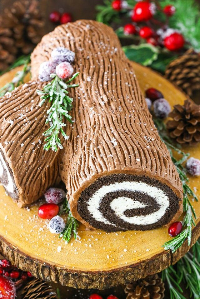 full Yule Log Cake