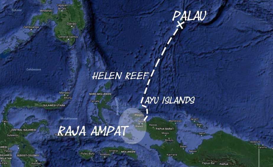 Map of our route from Raja Ampat to Palau