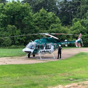 LifeNet Air Ambulance Medical Helicopter on the Ground in Texarkana