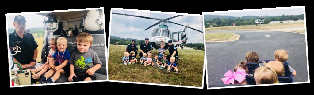 LifeNet Air 2 medical helicopter visits Crossgater Preschool in Hot Springs