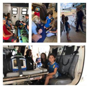 Girl Scout Troop 2048 tours LifeNet Air medical helicopter in Texarkana.