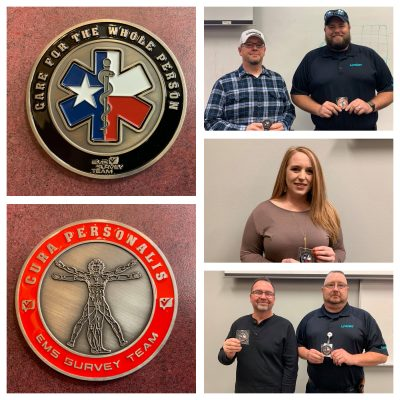 5 LifeNet Employees receive Challenge Coins for their high scores on returned customer surveys.