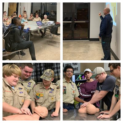 LifeNet Operations Manager Brian Smith teaches Texarkana area Boy Scouts the basics for first aid and safety to help them earn a merit badge.